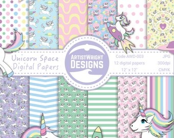 Unicorn Repeating Pattern - 'Unicorn Space' -  High Res - Unicorn Digital Paper Pack - Pastel - COMMERCIAL USE. AWD-003