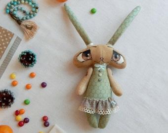 Big eyed bunny toy / Soft Toy Rabbit / Rag Bunny / Stuffed bunny Toy / Bunny in skirt / Woodland Stuffed Animals / Wife gift / Girl gift