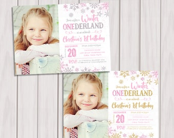 WINTER ONEDERLAND INVITATION Photo, Pink and Silver First Birthday Invitation, Pink and Gold Winter Onederland Invitation, Snowflake