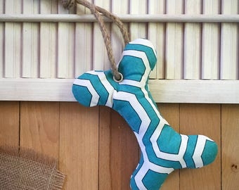 Teal Bone Dog Toy with Squeaker, Stuffed Dog Toy, Pet Toy, Cute Dog Toy, Colorful Dog Toy