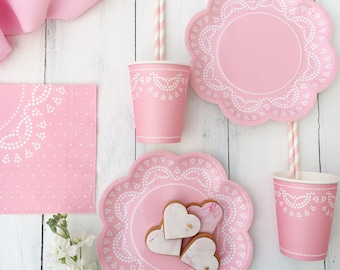Pink Lace Tableware, Lovely Pink Vintage Style Paper Plates and Cups, Baby Shower Tableware