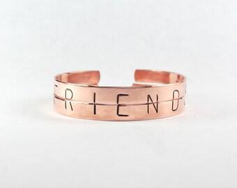 Friends Bracelet Set, Friendship Bracelets For Two, Split Half Word Cuff Bangle Bracelets, BF Bracelet Gift, Best Friend Jewelry