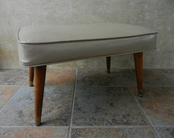 Large Mid Century Tan Vinyl Foot Stool, Living Room Furniture, Beige Footstool, Ottoman, Tapered Wooden Legs, Retro Decor