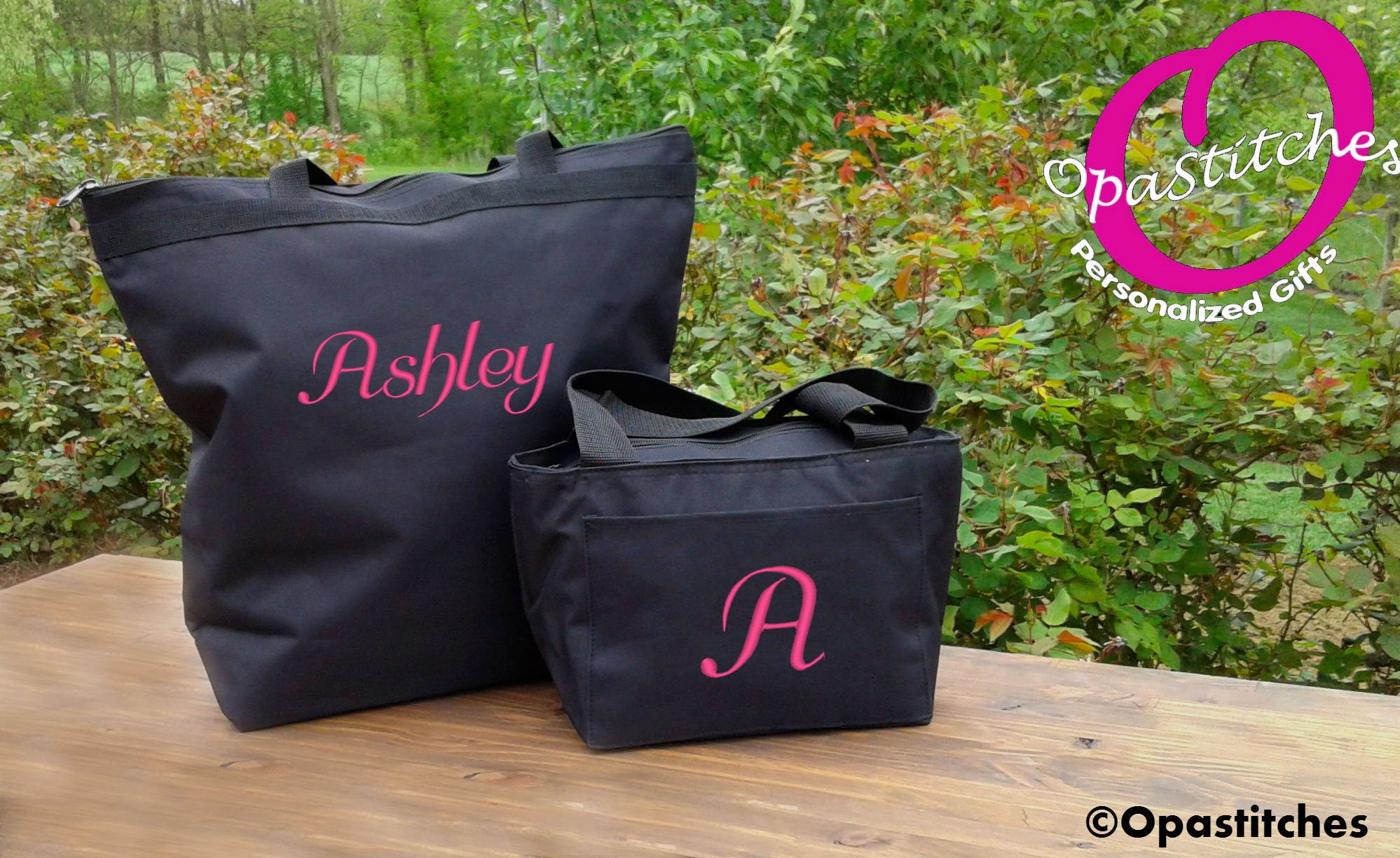 tote and lunch bag personalized combo black lunch box