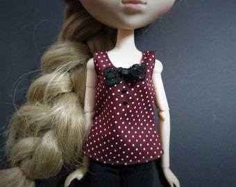 Maroon Polka Dot Tank Top w/ Black Lace Bow for Barbie/Pullip/Blythe/Momoko