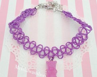 Lavender Gummy Bear Tattoo Choker Necklace
