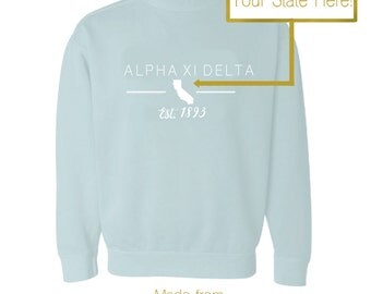 Comfort Colors Sorority Sweatshirt Custom State and Greek Organization with Established Date