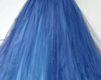 Flower girl dress - tulle flower girl dress- Tulle Dress -Infant/Toddler - Pageant dress- wedding - Princess dress -Blue dress- flower dress