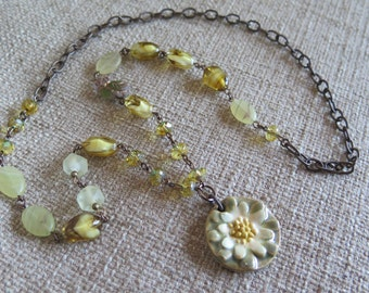 flower necklace, daisy necklace, yellow and green necklace, feminine necklace, romantic necklace, long necklace, owl necklace, sunflower