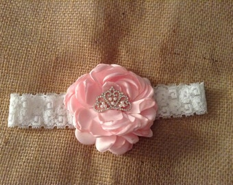 Pink Princess Couture Headband- newborn headband Girls headband- photo prop