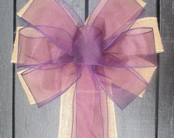 Plum Sheer Organza Burlap Pew Bow, Rustic Marriage Wedding Bridal, Purple Church Decorations, Aisle Chair Baby Shower,  Party