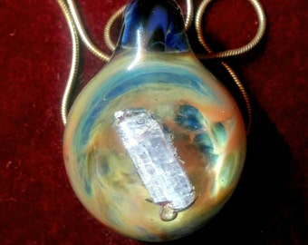 Blown glass pendant kyanite   Glass honeycomb pendant   Crystal necklace   Boro Glass glass jewelry glass pendant galaxy pendant fairy