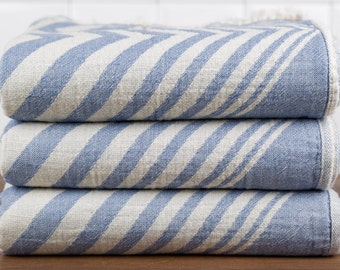 Zigzag Towel, Bath Towel, Turkish Towel, Peshtemal, Hammam Towel, Denim