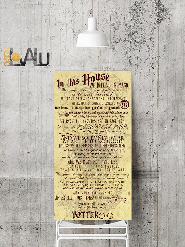 In This House Harry Potter Quote Inspiration and Wall Art Marauders ...