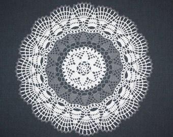 White Gray Crochet Doily, Pineapple Doily, Lace Doily, Cotton Doily, Tablecloth, Crochet Centerpiece, 14 inches