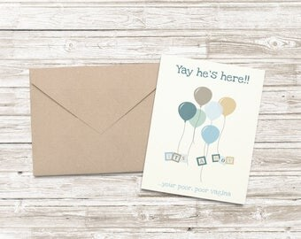 Funny New BABY BOY Card - Poor Vagina / Funny / Humorous