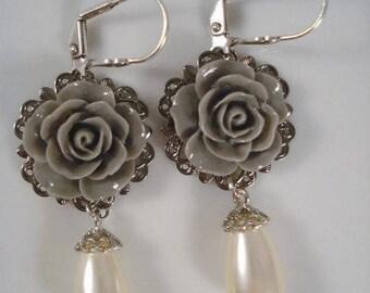 Wedding Pearl Earrings - Grey Rose  - Victorian Inspired -  Rose Jewelry