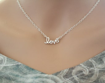 Sterling Silver Love Connector Necklace, Silver Cursive Love Necklace, Love Link Necklace, Love Charm Necklace, I Love You Necklace