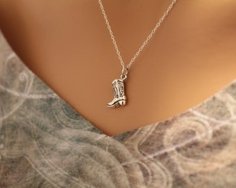Sterling Silver Cowboy Boot Charm Necklace, Cowboy Boot Necklace, Cowboy Necklace, Silver Cowboy Boot Necklace, Boot Charm Necklace