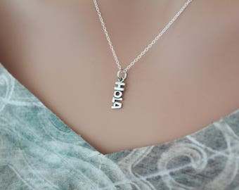Sterling Silver Hola Charm Necklace, Hola Necklace, Hola Hello Pendant Necklace, Hola Charm Necklace, Silver Hola Word Necklace, Hola Hi