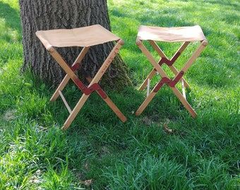 Pair of 2 Wood and Canvas Folding Camping Stool