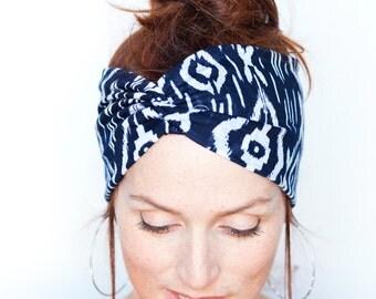 Navy Headband - Tribal Prints - Yoga Headband Womens Hair Accessories Headbands n Turbans Headwrap Christmas gift for her Vegan Accessory