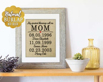 Valentines Day Gift for Mom, Framed Art, Mom Art Print, Mom Wall Art, Important Family Dates, Grandparents Gift, Mother of the Bride Gift