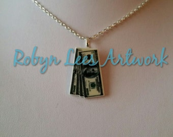 Small Money Dollar Bill Notes Cabochon Charm Necklace on Silver Crossed Chain, Black Faux Suede Cord or Dark Brown Faux Leather Braided Cord
