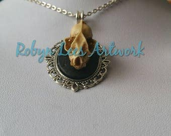 Small Antiqued Resin Bat Skull Cabochon Necklace on Silver Chain or Black Cord. Gothic, Victorian, Costume, Steampunk, Pagan, Wiccan