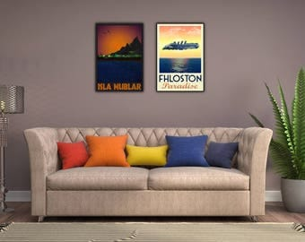 90's Movies Set of Two: Jurassic Park and The Fifth Element - Fhloston - buy one get one half price Framed Fictional Travel Prints wall art