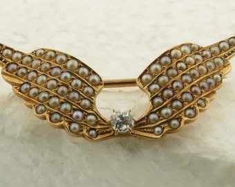 Antique 14 kt Gold, Seed Pearl & Diamond Flying Wing Pendant.