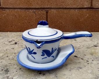 Vintage Smorpanna Husqvarna Bluebird Butter Warmer Enamel Cast Iron Pot from SWEDEN Lobster Butter Warmer,