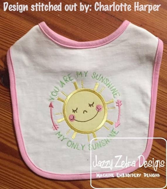 You are my sunshine, my only sunshine saying Sun appliqué embroidery design - Sun appliqué - baby appliqué - girl appliqué - boy applique