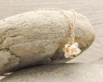 Dainty Gold Pendant Necklace, Boho Bridal Necklace, Layering Necklace, Crystal Necklace, Gold Necklace, Dainty Necklace, Simple Necklace