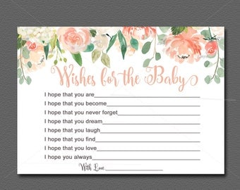 Peach Baby Shower Wishes for Baby Advice Card Peach & Mint Floral Baby Shower Activity Flower Baby Shower PRINTABLE INSTANT DOWNLOAD 028