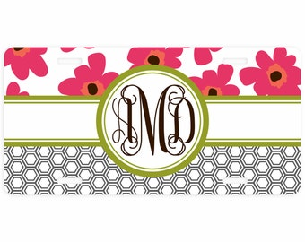 License Plate, Car Tag Personalized, Personalized License Plate, Vanity Plate, Monogrammed Car Tag, Personalized Car Tag, Pretty Poppies