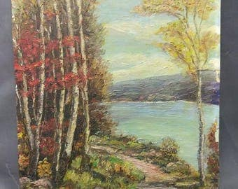 Antique Old American Trees Landscape Oil Painting Lake Waterfront Original Art