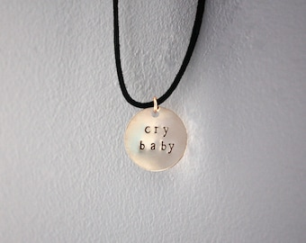 Cry Baby Gold Metal Stamped Self Tie Choker