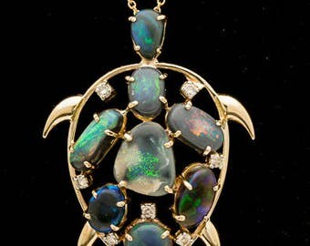 Turtle Shaped Semi-Black Solid Opal Pendant w/Chain 5ct (LP147)