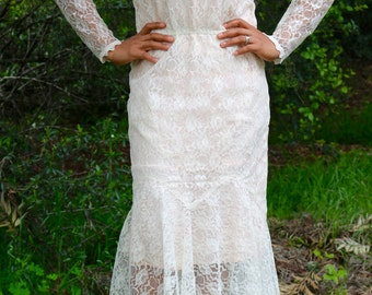 70's/80's Pink & Off White Lace Dress by Scott McClintock