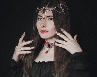 Red Silver Filigree Choker, Gothic Vampire Necklace, Medieval Steampunk Jewelry, Fantasy Necklace, Gothic Choker, Melisandre Cosplay