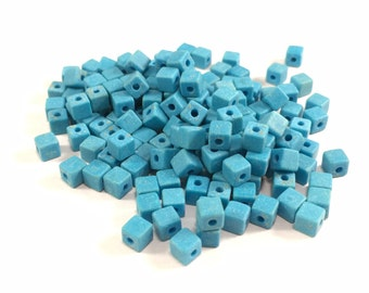 Blue Marble Cube Beads, Bright Blue Square Beads, Stone Beads, Blue Stone Beads, Marble Beads