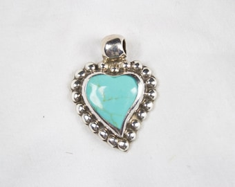 Vintage 925 Silver Authentic Mexican Turquoise Pendant Heart
