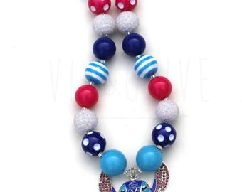 Chunky Necklace - Bubblegum Necklace - Blue Alien - Alien Necklace - Alien Jewelry - Alien Birthday Party - Theme Park Character