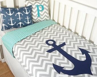 Bright green and grey nautical anchor nursery set items