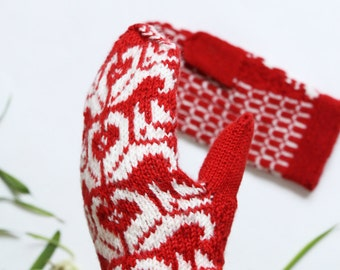 Red winter mittens - white patterned gloves - nordic mittens - knitted wool mittens - valentine day gift - Scandinavian knit red mittens