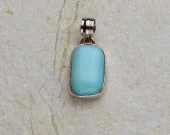 Sterling Silver Blue Opal Pendant, Robin's Egg Blue, Natural Gemstone, Jewelry Supply