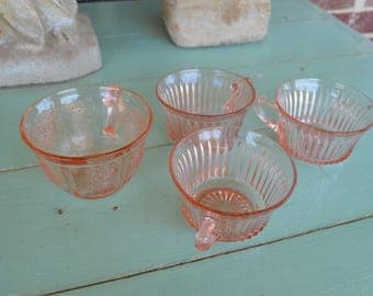 Mismatch Collection of Antique Pink Depression Glass Tea Cups, Rose Print Pattern, Shabby Chic, Tea, Coffee
