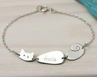 Personalised Cat Bracelet – Sterling Silver Cat Bracelet – Cat Lover Gift - Personalised Bracelet