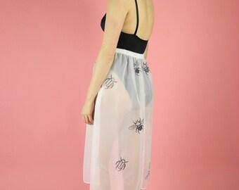 Bee and Beetle Print Sheer White Skirt